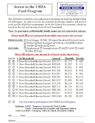 USDA Intake Form 2014